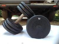 2 x 31kg Bodysculpture Cast Iron Dumbbell Weights