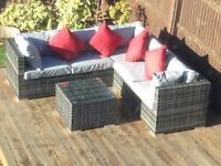 Rattan Garden Corner Sofa with Coffee Table