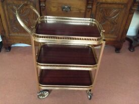 Vintage 1950's Gilt Three Tiered Serving Trolley