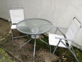 Small glass table & chairs set