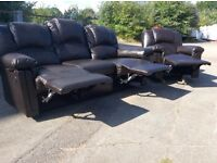 Brown Leather 3 Seat Recliner Sofa + Chair - Ex Display - ��399 Including Free Local Delivery