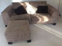 Faux suede leather 3 seater sofa and footstool for sale £95
