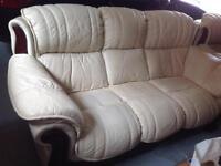 Cream Leather 3-piece suite