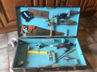 Vintage carpenters wooden tool box including tools