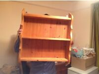 Honey coloured waxed pine shelf unit ..wall mounted