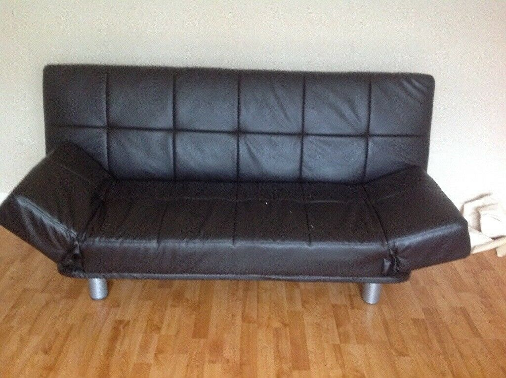 Black Leather Double Sofa Bed Can Be Used As And Turns Into A