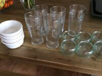 Pint glasses, serving dishes etc