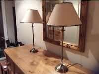 Pair of brass table lamps with shades