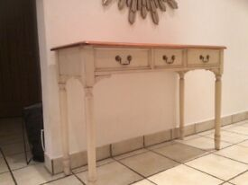 Laura Ashley Dressing Table, solid wood in distressed cream with pine top.