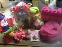 Girls toy bundle, littlest pet shop, happyland