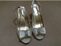 Ivory satin slingbacks size 6 worn once