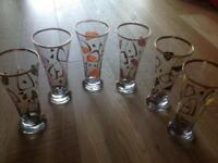 Highly Collectable - Stunning vintage (retro design) tumblers (set of 6 glasses)