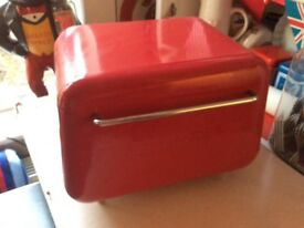 Retro red typhoon bread bin