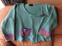Hand made, silk/linen, knitted top