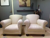Antique Arm Chairs With Front Bun Feet & Brass Castors.