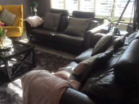 2 and 3 seater leather sofas and pouffe