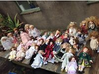 Collection of 39 porcelain dolls