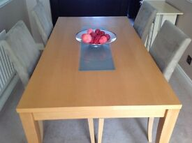 Solid beech dining table with frosted glass insert and 4 upholstered chairs - size 160cm x 85cm