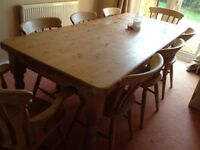Solid pine large table and 8 chairs