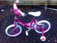 Girls mermaid bike with stabilisers