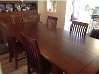 Reclaimed pine dining table and six high back chairs