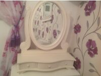 White shabby chic mirror with 3 small drawers