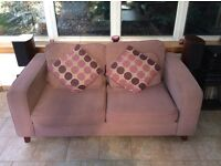 Sofa bed and matching arm chair and cushions. Good condition. Collection only. Suitable for student
