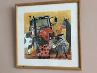 Framed print/picture Red Tractor by Alex Clark farm animals boys bedroom/nursery