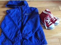 Boys coat age 6-8 and red Dunlop baseball boots size 10