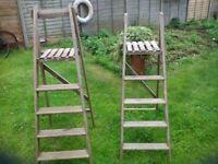 Vintage old wooden steps display or use