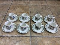 8 x Portmeirion coffee cups and saucers