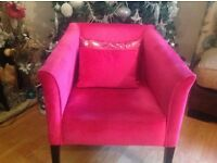 Pink Velvet Arm Chair and 2 Funky Cushions