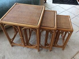 Nest of 3 cane tables