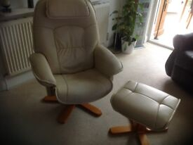 Cream faux leather reclining swivel chair