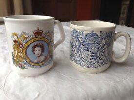 Queen Elizabeth ll 1977 Silver Jubilee mugs x 2