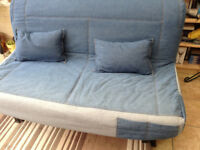 Lycksele Sofa Bed. Blue fabric cover. Hardly used.