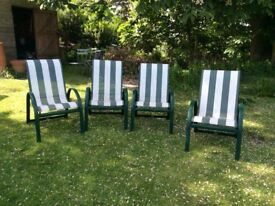 4 Striped Garden chairs, stackable.