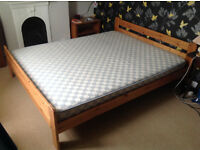 IKEA wooden double bed with mattress