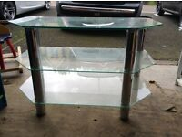 Hygena glass and chrome TV stand
