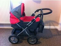 Silver Cross Dolls Pram (bright pink/grey) Excellent Condition