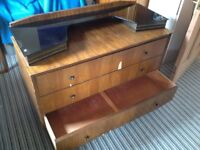 Three drawer dressing table with glass top. Art-deco style.