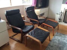 IKEA Leather Poland Chairs & Foot stalls