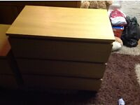 Set of 3 draw chest and 2 matching bedside tables