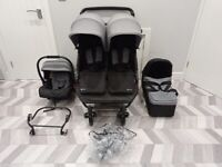 GORGEOUS MY CHILD DOUBLE BUGGY/PRAM IN GREY/BLACK INCLUDING CARRYCOT/CARSEAT, ONL