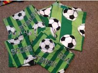 Football duvet covers and curtains.