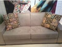 Luxury suede 3 seater beige sofa ,excellent condition