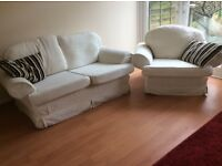 cream sofa and chair.