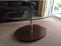 Glass top coffee / lamp table