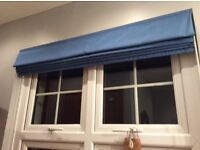 Blue fabric blackout roman blind