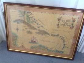2 prints of Caribbean maps in wood frames